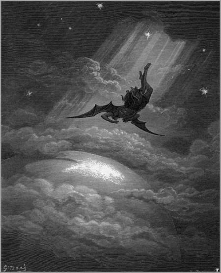 Der gefallene Engel einmal anders betrachtet: «Sehr satanisch, denn ich glaube, dass Satan nicht auf seinem Thron regiert, dass Satan nicht existiert» (Bild: Gustave Doré, «La chute de Lucifer», Wikimedia Commons).