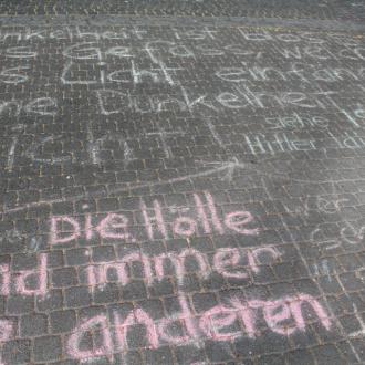 gesichtet #113: Erscheinungen am Rhein: Bizarre Kreidebotschaften und waghalsige Brückenkunst